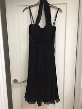 debenhams new black party dress halter neck - size 8 stunning (RRP £150)