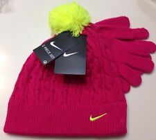 Nike girls beanie hat and gloves set, Cable-Knit  Pink /yellow 4-6X little girls