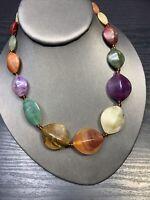 "Vintage Lucite Swirl Large Beaded Multi Color  Strand Bib Statement Necklace 16"""
