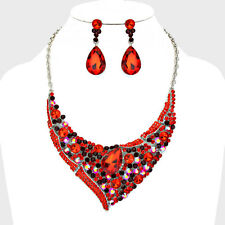 Formal Ruby Garnet Red Whimsical Teardrop Bib Elegant Fashion Necklace Set