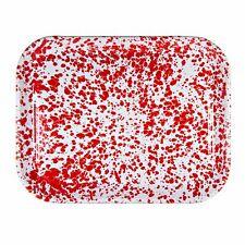 RD98 - Red Swirl - Enamelware Half Sheet Tray by Golden Rabbit