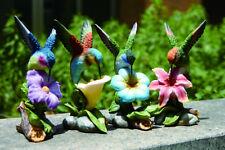 3rd Resin Hummingbird Bird Blue Flower Figurine (1 bird only)