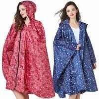 Women's Stylish Raincoat Hood Zipper Rain Poncho Waterproof Outdoor Rainwear