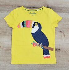 Mini Boden Girls Toucan Applique T Shirt Size 4-5 Bright Yellow 100% Cotton