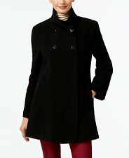 Larry Levine Womens New Double-Breasted Babydoll Swing Coat Black XL $245 #33-41