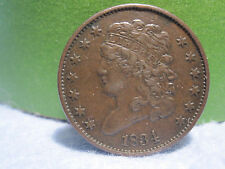 1834 Classic Head Half Cent (1/2 cent) High Grade