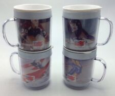 Vintage 1988 Olympics Coffee Mugs Maxwell House Insulated Lids Set 4 Stacking