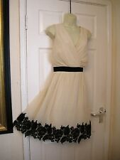20 LITTLE MISTRESS CREAM CHIFFON BLACK LACE TRIM DRESS 30'S VINTAGE GATSBY PARTY