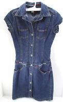 Tommy Hilfiger Jeans Women's Dress Denim Mini Jumper Stretch Sz XS button booty