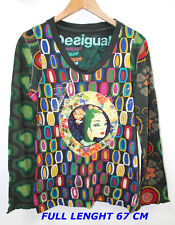 DESIGUAL  LADIES WOMAN BLOUSE SIZE XL MULTICOLOR  HIGH 67 CM LONG SLEEVE SEE