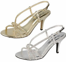 F10284- Ladies Anne Michelle Heeled Sandals 2 Colours- Gold & Silver