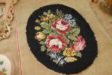 Rose & Blue Yellow Flowers Black Completed Needlepoint Canvas Unique Oval