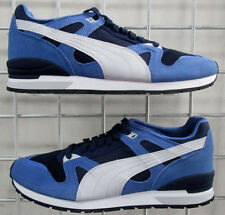 Men's Puma Duplex Classic Sneakers, New Blue Black Mesh Suede Walking Shoes 11