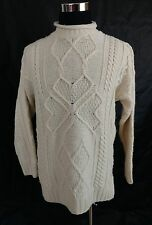 Aran Crafts M 100% Beige Merino Wool Mock Turtleneck Sweater