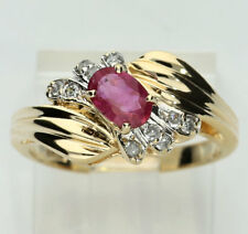 Diamond rubellite ring 14K yellow gold oval round .42CT swirl 3.4 GM size 6 1/4