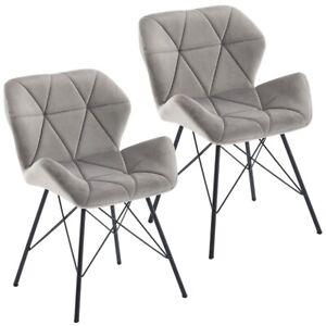 2er Set Stuhl Esszimmerstuhl Stoff Samt Grau Konferenzstuhl Metallbeine