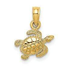 14K Yellow Gold Textured SEA TURTLE Charm Pendant