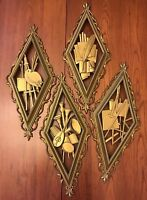 Vintage Syroco 4 Piece Wall Hanging Art Music Literature Architecture Gold 1960