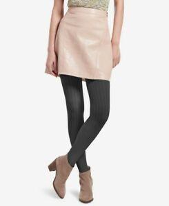 HUE Womens Control-Top Micro Cable-Knit Tights Graphite Heather