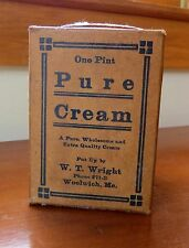 Waxed Paper Pure Cream Carton c.1915 - W.T. Wright Woolrich, ME - Exc, Orig Cond