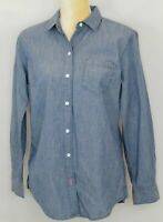 Tommy Bahama Womens Top Size M Button Down Denim Embroidered Bleach Wash New