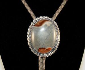 Sterling Silver Picture Jasper Bolo Tie w/Leather Cord (#188)
