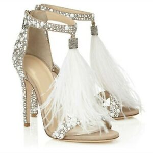 Ladies Heel Sandals Faux Leather Rhinestone Feather Stiletto Heels Wedding Shoes