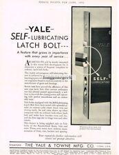 1932 Yale & Towne MFG. Co. Self-Lubricating Door Latch Bolt Vtg Print Ad