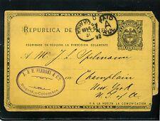 U.P.U. >>UNION POSTAL UNIVERSAL.CARTE POSTALE,>BOGOTA  TO NEW YORK U.S 1892