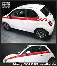 Fiat 500 Checkered Upper Side Stripes 2007 2008 2009 2010 2011 2012 2013 2014
