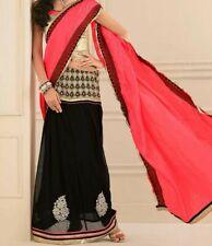 Lehenga saree black pink.