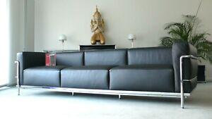 Cassina Le Corbusier LC 3, 3-Sitzer, Leder schwarz, Chrom, Top, inkl. MwSt.!