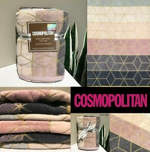 SET OF 2 New COSMOPOLITAN Hand Towels, Geometric Pink Lavendar Blue Dusty Shades