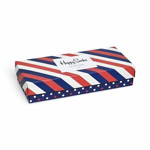 Happy Socks Big Dot Stripe Gift Box Size 4 - 7 Unisex Cotton 4 Pairs Of Socks