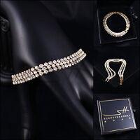 Edles Armband, Bracelet *Cubic Zirkonia* Gelbgold pl, Swarovski Elements, +Etui