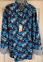 Robert Graham Classic Fit Bassett Floral Flip Cuff Casual Shirt Men's XL New!
