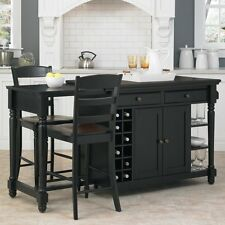 Home Styles Grand Torino 3 piece Kitchen Island & Stools Set, Black/Rustic