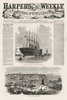 Great Eastern Steamship Maiden Voyage Portland Maine Depot Sailboats 1859 Print