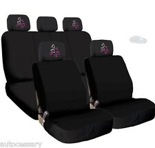 New 4X Car Red Pink Hearts Logo Headrest and Black Cloth Seat Covers For Nissan