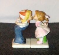 Vintage Boy & Girl Kissing Porcelain Figurines Valentine Sweetheart Cake Toppers
