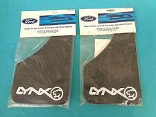 NOS FORD MERCURY LYNX SPLASH GUARDS, BLACK W- WHITE LETTERS, 2- PR, NEW IN BAGS