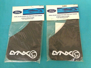 NOS FORD MERCURY LYNX SPLASH GUARDS, BLACK W- WHITE LETTERS, 2- PR, NEW IN BAGS