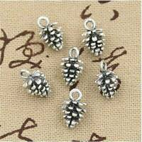 50Pcs Antique Tibet Silver Charms DIY 3D Pine Cone Pendants For Jewelry Making~~