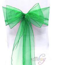 1/10/50/100Pcs Sheer Organza Chair Covers Bow Sashes Wedding Party Banquet Decor