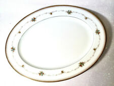 "NORITAKE Joanne 6466 Blue Floral Gold Verge Edge 13.75"" Oval Serving Platter Vtg"