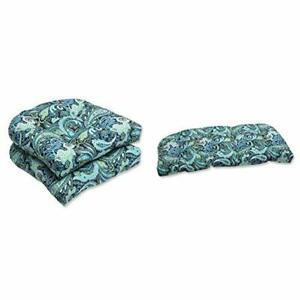 Pillow Perfect Outdoor Pretty Paisley Wicker Seat Cushion Blue Set of 2 with ...