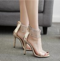 Women's Tassels Rhinestones Ankle Strap Party Stiletto High Heels Pump Sandals