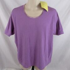 Denim & Co. Women Ribbed Shirt Stretch Sz 2X Purple Satin Trim S/S CB89M NWT