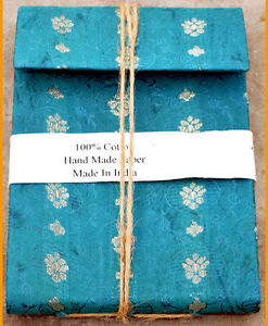 Teal color cover journal diary embedded flower leaves hand made recycled paper