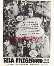 Vintage Ella Fitzgerald & Her Orchestra AD ART PROMO 30s Publicity Portrait
